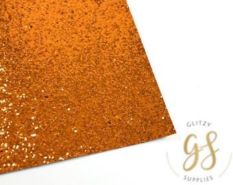 Tangerine Chunky Glitter Fabric Sheet 8 x 11 - Glitter Fabric Sheet