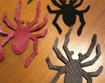 4 Embossed Chipboard Spider Webs with 4 Genuine Leather Spiders Halloween Crafts, Cards, Scrapbooks, Collage