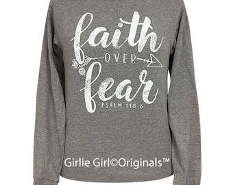 Girlie Girl Originals Faith Over Fear Long Sleeve Oxford Gray T-Shirt