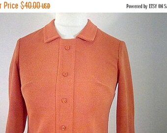 summer sale Vintage dress scooter style 60s Sid Greene of London orange dress long sleeves size small