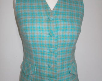 summer sale Vintage tweed waistcoat checked turquoise blue wool ladies vest size small