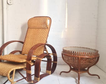 Exquisit Bamboo Reclining Chair Ottoman and Table Set. : bamboo recliner chair - islam-shia.org