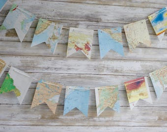 Maps Atlas Paper Bunting Banner Pennant Garland