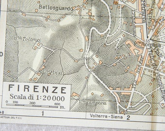 1949 florence italy vintage map