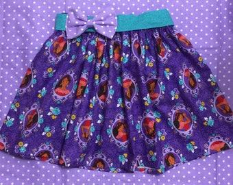 Toddler Baby Girl Elena of Avalor Purple Elastic Waist Twirl Skirt with Bow belt Disney Inspired