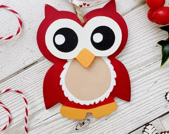 Owl Christmas tree decoration - Owl Christmas ornament - Christmas owl hanging decor - Personalised owl decoration - First Christmas decor