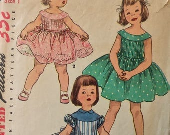Simplicity 1220 girls dress size 1 vintage 1950's sewing pattern