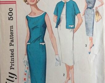 Simplicity 2540 misses sheath dress & jacket size 12 bust 32 vintage 1950's sewing pattern