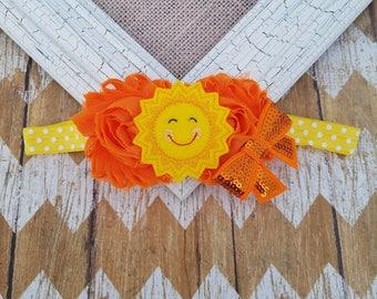 Sunshine headband, Sun headband, toddler headband, girls headband, felt headband, summer time headband, baby headband, infant headband