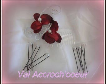 Set of 6 hair pins white hair comb