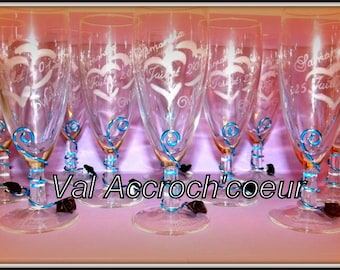 set of 20 personalized and engraved wedding champagne Flutes or other