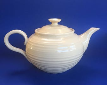 Sophie Conran Portmeirion Cream Swirl Porcelain Teapot Large 7 Cup England