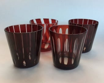 Set of 4 Vintage Ruby Red Crystal cut to clear Glasses