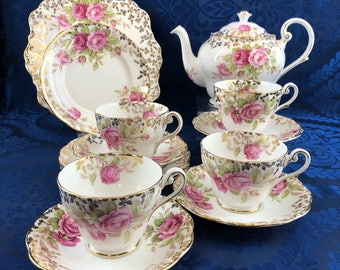 Royal Standard Festival Rose Bone China Tea Serving Set Teapot Cups Saucers