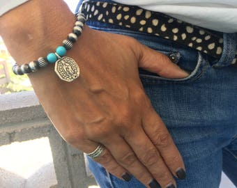 Our Lady of Guadalupe and St Barbara Navajo Pearl Bracelet