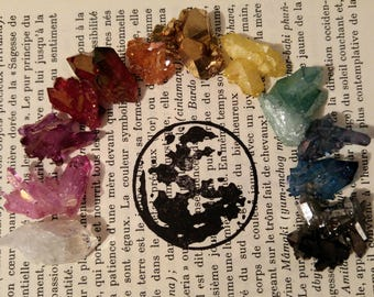 Tiny rainbow aura quartz cluster lot, sample aura crystal, rose aura quartz, ruby aura quartz, blue aura quartz, aqua aura quartz