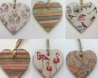 Handmade Hanging Wooden Heart With Twine- Animals, Stripes and Stamps