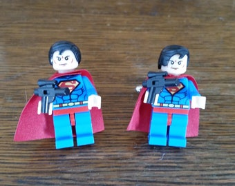 Set of Superman Cufflinks - Lego Minifigures - Cuff Links - Superhero Cufflinks - DC - Superman - Groom Cufflinks - Gift For Him - Unique