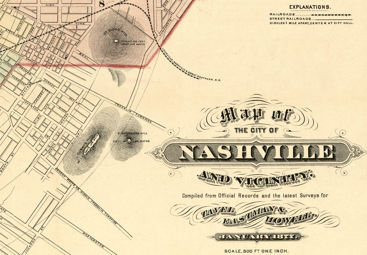 Map of the city of nashville tennessee southern wall decor amipublicfo Images