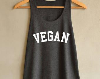 Vegan Shirt Vegan Tank top - vegetarian Shirt - Tank Top Dark Gray Women Size S M L
