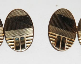 1930s Art Deco era Rolled Gold Plate Oval Double Faced Cuff Links-- Free Shipping!