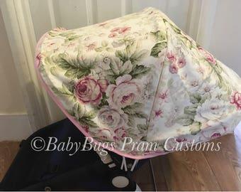 Custom Bugaboo Cameleon cream pink Floral hood/canopy/ strap pads & bumper bar pram set