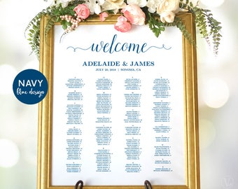 Navy Blue Wedding Seating Chart Sign, Wedding Seating Chart Poster, Wedding Seating Chart Template, Editable, VW03