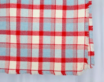 Vintage red turquoise and white plaid throw blanket - lightweight wool