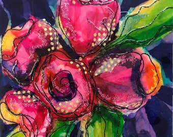 Buds Tissue Paper Painting