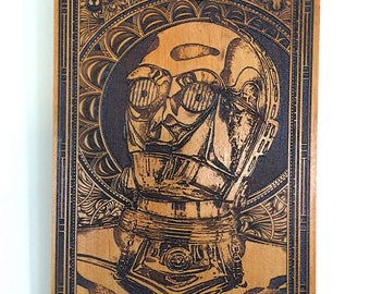 C3PO Star Wars Custom Gift, Nerd Gift, Wood Etched, Star Wars Gift, C3PO Poster, Star Wars Fan, Movie Sci Fi Lover, Poster 50 Dollar Gift