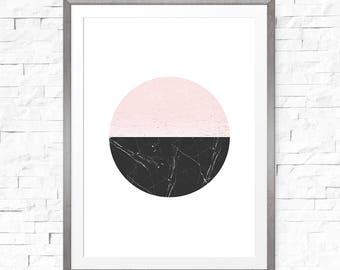 Geometric print, Abstract circle art, Above bed art, Scandinavian print, Circle wall art, Geometric circle, Minimalist art, Nordic style