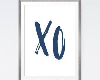 XO Print, Navy Blue Wall Art, XO Wall Art, Navy Wall Art, Little Gifts, Blue Artwork, Love Wall Decor, XO Wall Prints, Wall Art Printable