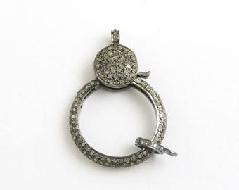 March Sale 1 PC Pave Diamond Lobster Clasp Antique Finish Over Sterling Silver - Diamonds On Both Side 38mmx26mm LB156