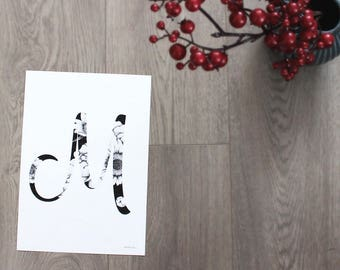 Floral letter M (poster A4/A3)