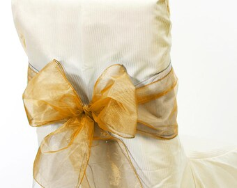 Pack of 6 Gold Sheer Organza Fabric Sashes Decor Chair Bows 9 in X 10 ft