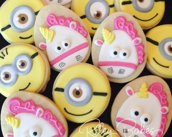 Minions Cookies, Minions Party, Minions Birthday Party Favors, Minions Cake, Unicorn Cookies, Unicorn Birthday, Unicorn Party