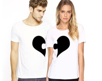 Heart Puzzle, Couple shirts, Matching shirts, Gifts for couples, Personalised gifts, Gift ideas, Customized shirts, T shirt design, Iron on