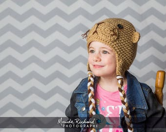 Knitted otter cap, crochet seal beanie, funny animal hat for kids teens and adults