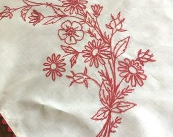 Vintage Hand-Embroidered Floral Dresser Scarf / Runner in Red M863