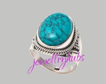 Turquoise Ring, Turquoise Silver Ring, Silver Turquoise Ring, 925 solid sterling Silver, Handmade Ring, Women Ring, Gypsy Ring, R23TR