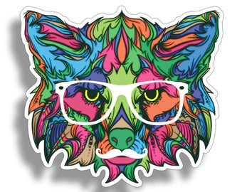 Fox Wolf Face Graffiti Sticker Die Cut Full Color Digitally Printed Vinyl Graphic for Lovers of Cats Cup Cooler Car Truck Window Tumbler