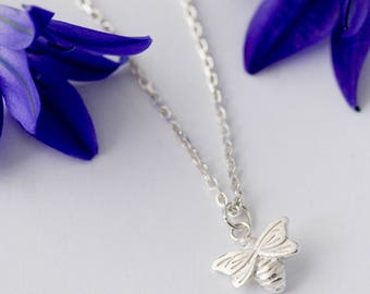 Bee Necklace, silver necklace, bee jewellery, bee jewelry
