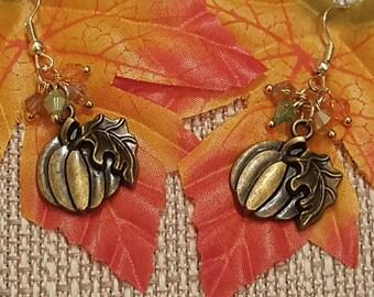 Pumpkin Earrings, Thanksgiving Earrings, Free Shipping