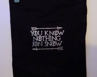 Handmade tote bag, You Know Nothing Jon snow, Game of thrones inspired