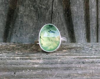 Prehnite Ring - Green Gemstone Ring - Prehnite Jewelry - Sterling Silver - Light Green - Faceted Ring - Prehnite Green Ring - OOAK - Silver