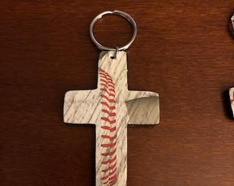 Baseball cross keychain