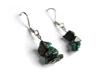 Chrysocolla earrings turquoise, Chrysocolla jewelry turquoise, genuine chrysocolla stone earring, turquoise stone jewelry healing stone ahin