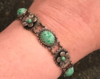 Art Deco Bracelet Silver and Jade colored Stones