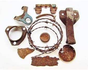 Rusty Metal Lot, Assemblage, Altered Art, Industrial Salvage, Steampunk, Mixed Media, Garden Sculpture Rusty Bits #22