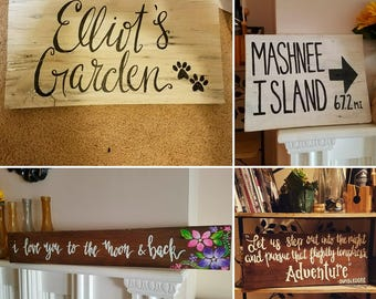 Small - Customized Hand Painted Wood Sign